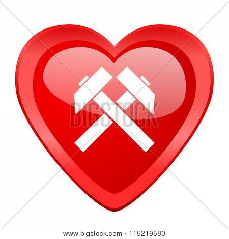 mining red heart valentine glossy web icon