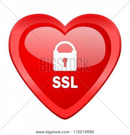 ssl red heart valentine glossy web icon