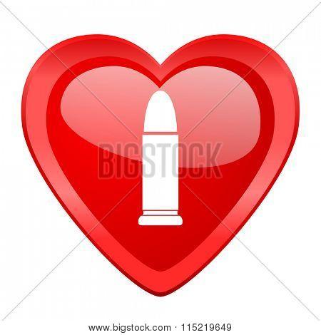 ammunition red heart valentine glossy web icon