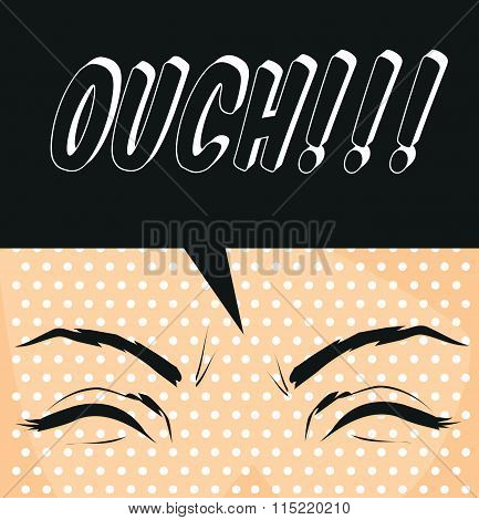 Cartoon Ouch-pop Art Illustration Exclamation Used To Express Pain Poster