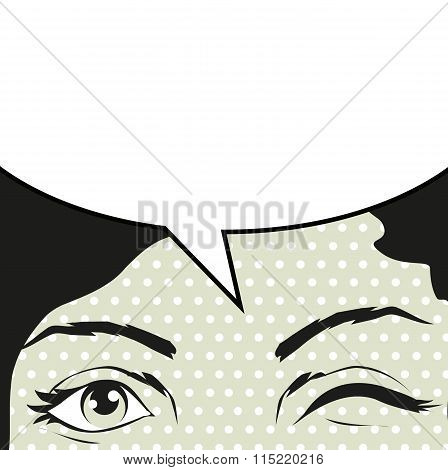 Illustration Beautiful Dark-haired Woman Winks With Bubble Speech On Pop Art Retro Background