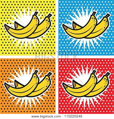 Banana Pop Art Set Backgrounds