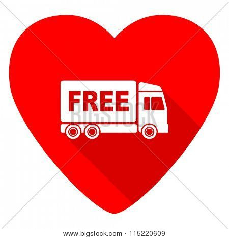 free delivery red heart valentine flat icon