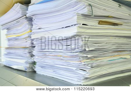 Close Up Stack Of Papers, Books And File ~ Soft Focus