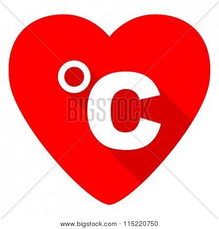 celsius red heart valentine flat icon