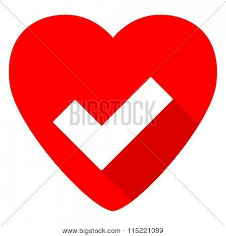accept red heart valentine flat icon