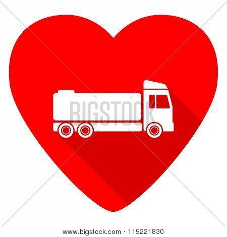 truck red heart valentine flat icon