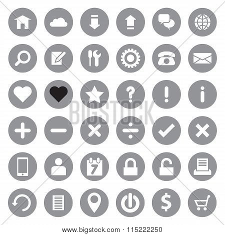 Web icon set on gray circle