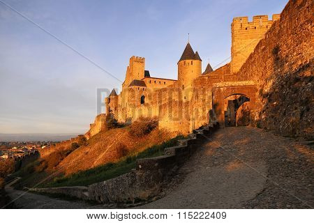 Carcassonne Fortress At Sunset