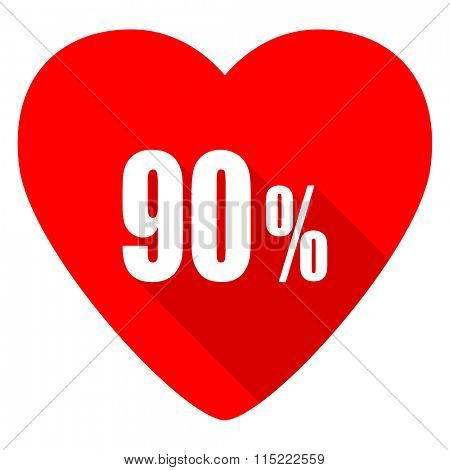 90 percent red heart valentine flat icon