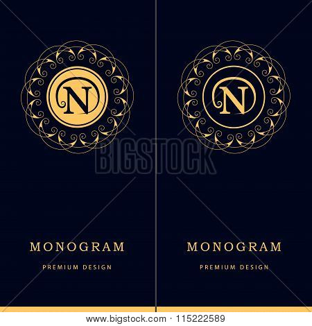 Monogram Design Elements, Graceful Template. Letter Emblem Sign N. Calligraphic Elegant Line Art Log