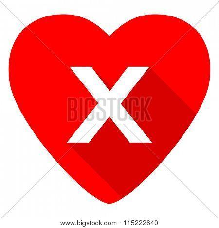 cancel red heart valentine flat icon