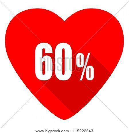 60 percent red heart valentine flat icon