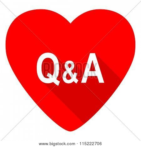 question answer red heart valentine flat icon