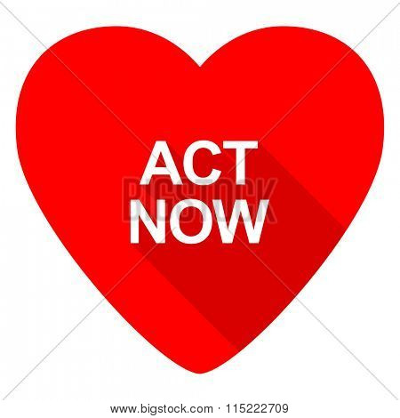 act now red heart valentine flat icon