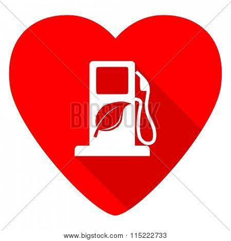 biofuel red heart valentine flat icon