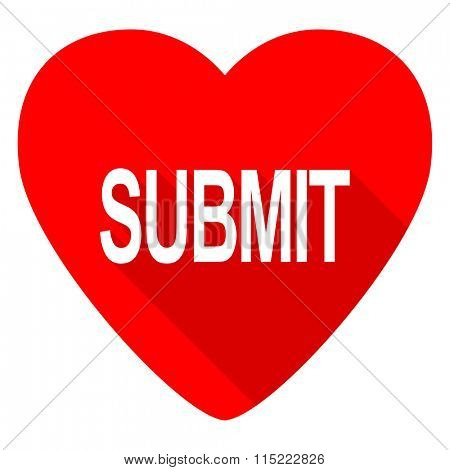 submit red heart valentine flat icon