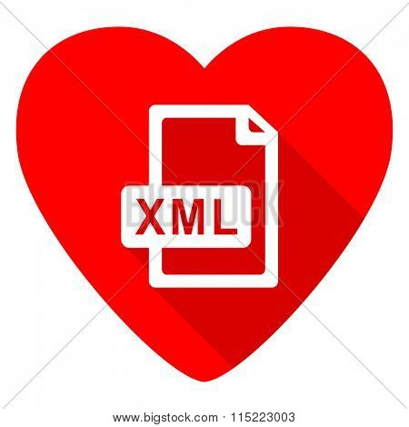 xml file red heart valentine flat icon