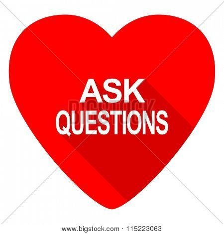 ask questions red heart valentine flat icon