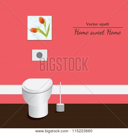 Toilet 3d. Red background.
