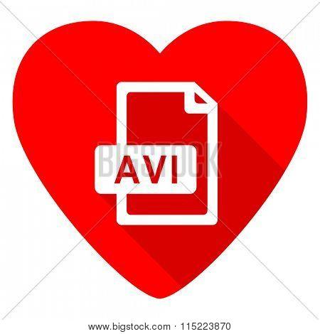avi file red heart valentine flat icon