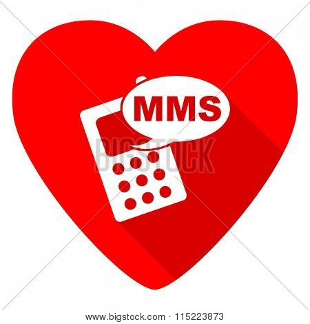 mms red heart valentine flat icon