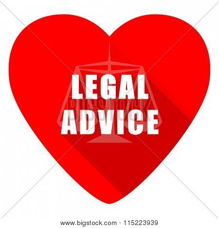 legal advice red heart valentine flat icon