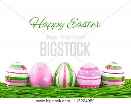 Pink, Blue And Green Easter Eggs