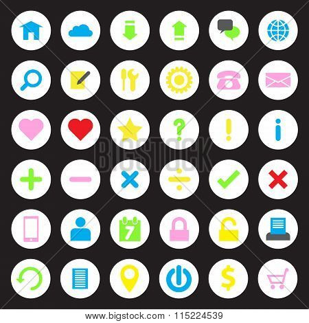 Colorful web icon set on white circle