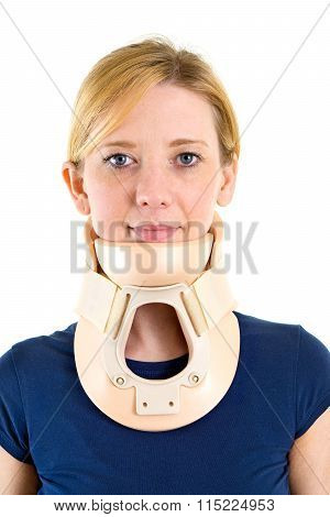 Blond Woman Wearing Supportive Neck Brace