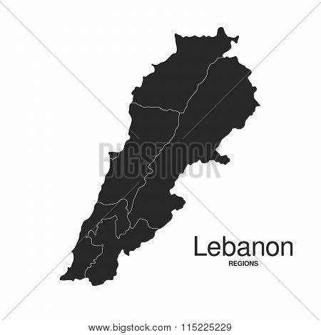 Lebanon Silhouette Regions Map