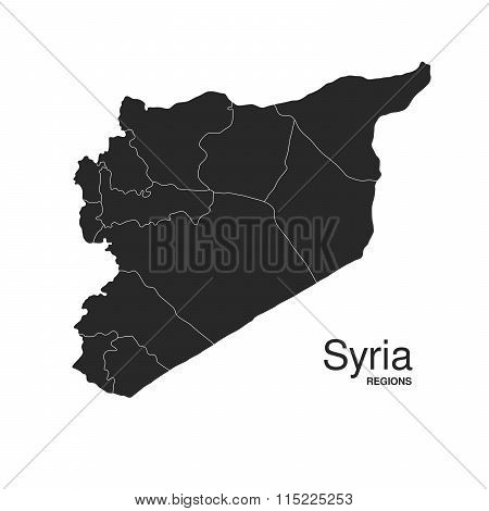 Syria Silhouette Regions Map