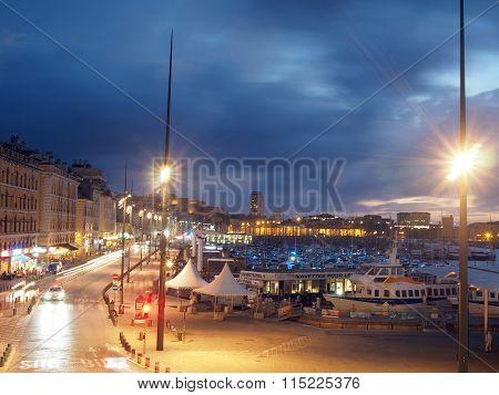 Editorial Marseille Night Harbor