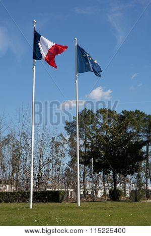 Flags Of Eu And France, Symbol Photo For Partnership, Diplomacy,