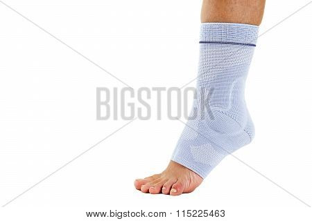 Woman Wearing Flexible Elastic Ankle Brace