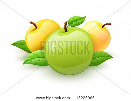 Apple fruits with green leaves. Isolated on white background.