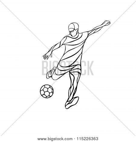 Soccer player kicks the ball. The colorful vector illustration on black background.