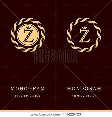 Monogram Design Elements, Graceful Template. Letter Emblem Sign Z. Calligraphic Elegant Line Art Log