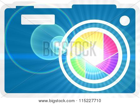 Photo camera icon. Rainbow lens aperture