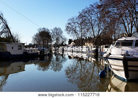 Anchored Boats In The Canal Du Midi