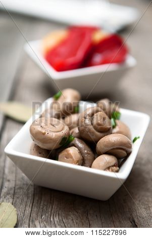 Pickled champignon on the wood background