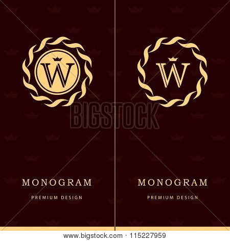 Monogram Design Elements, Graceful Template. Letter Emblem Sign W. Calligraphic Elegant Line Art Log