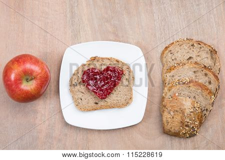 Breakfast With Bread Marmelade In Shape Of Heart  And Coffee