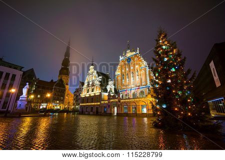 RIGA, LATVIA - DECEMBER 19, 2015: Illuminated house of the Blackheads at night on December 19, 2015 in Riga, Latvia