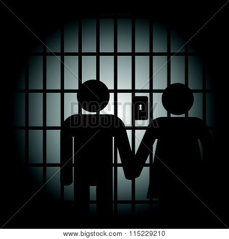 Couple In Prision Illustration