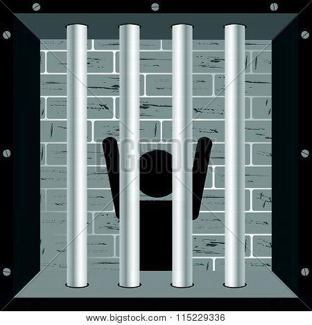 Prisioner In Cell Illustration In Black