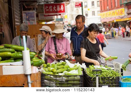 Fruit And Vegetable Stand In Chinatown