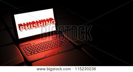 Phishing fraud - background with laptop