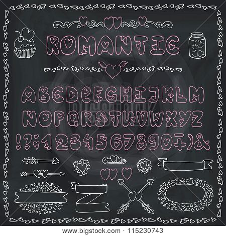 Romantic Alphabet.Heart Font,ABC Letters,decor.Chalk