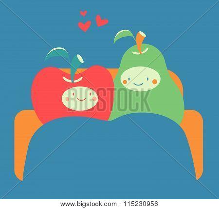 Cozy Fruit Couple On Sofa